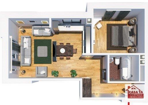 Apartament decomandat cu 2 camere, 39 mp utili, bloc nou, Tatarasi