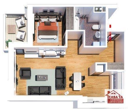 Apartament cu 2 camere decomandate, 57 mp, bloc nou, zona Tatarasi-Flora