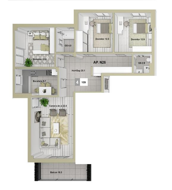 Apartament 4 CD 109 mp Podul de Fier