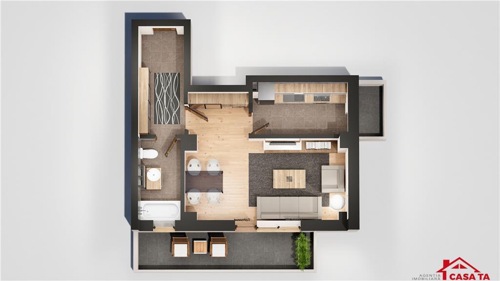 Apartament 1 camera, 32 mp, 42.000 euro, Tatarasi - Oancea