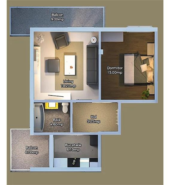 2 camere decomandat 49 mp 2 balcoane