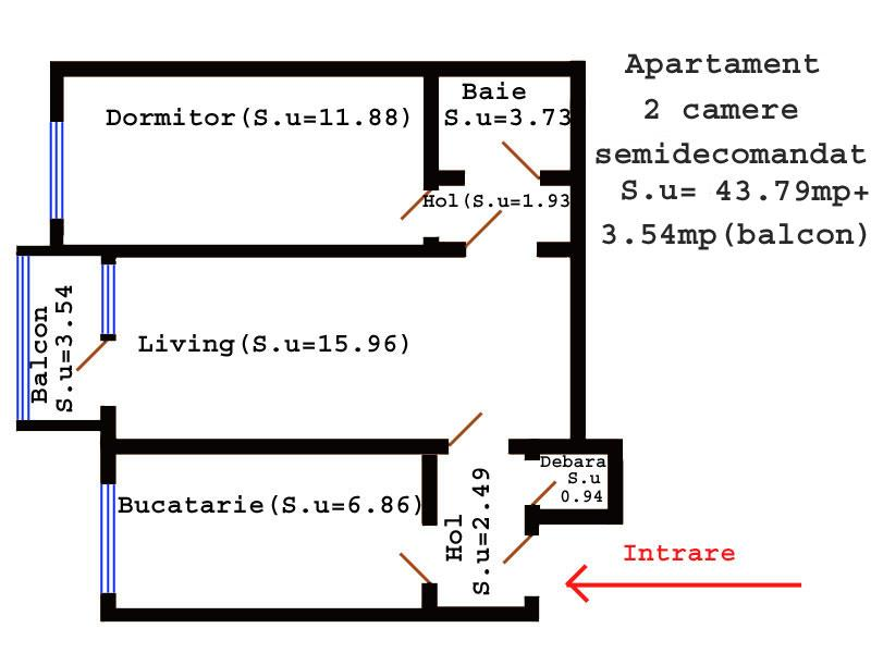 Apartament 2 camere etaj intermediar Tatarasi-Flora