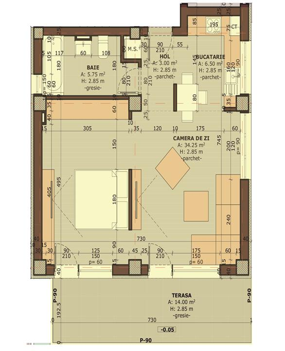 Apartament 2D - suprafata totala 64 mp + Teren