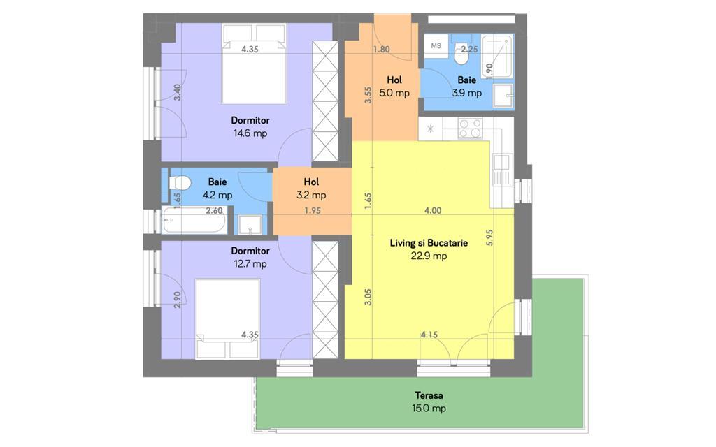 Apartament 3 camere suprafata 82 mp