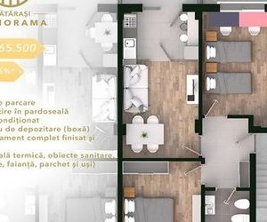 Apartament 3 camere 62 mp