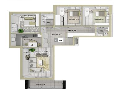 Apartament 4 CD 109 mp Podul de Fier
